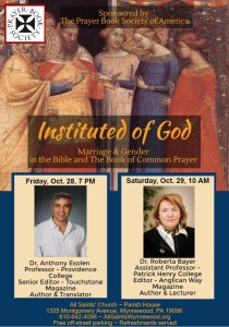 Instituted of God,  PBS Marriage Colloquium 28-29 October in Philadelphia