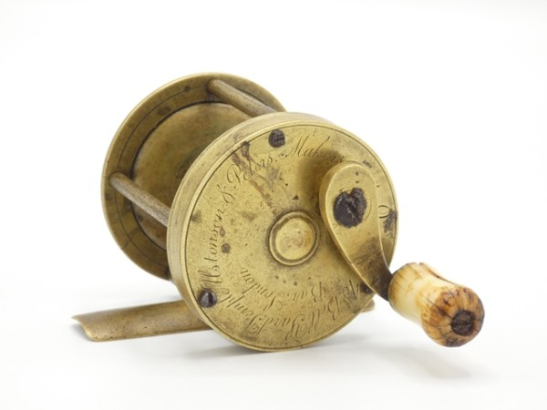 A rare Ustonson & Peters brass multiplying winch,