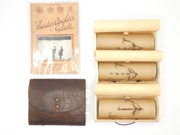 A Hardy Tweed salmon fisher's leather cast case,
