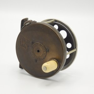 """A very rare Hardy 1894 Brass Perfect 2 ⅝"""" Houghton Dry Fly wide drummed trout fly reel,"""