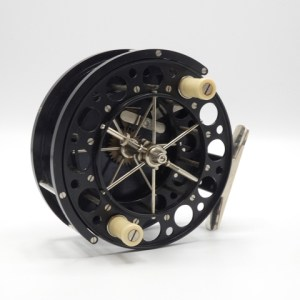 """A fine and rare Chris Lythe 4 ½"""" lever type Aerial style wide drummed centre pin reel,"""