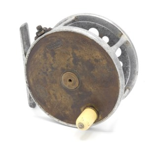 """A very rare Hardy Brass Faced Perfect transitional 4 ¼"""" salmon fly reel,"""