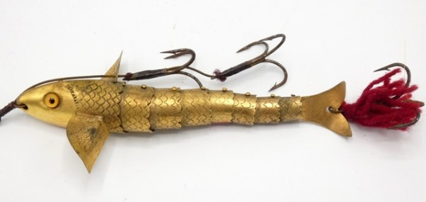 """A rare Gregory style Flexible Jointed 5"""" brass bait,"""