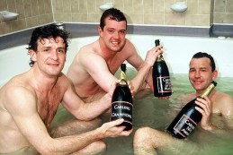 Mark Hughes, Gary Pallister and Bryan Robson