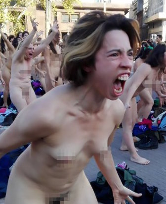 "Pic shows: Women undressed for the protest in Argentina's capital; These ladies stripped naked and performed a screaming protest against the scourge of violence against women in Argentina. More than 100 women gathered to march against gender violence and stripped in front of the President's residence Casa Rosada in capital Buenos Aires. The women performing the Femicide is Genocide protest stood in a group and undressed in front of onlookers before screaming angrily en masse. They were members of the Artistic Force of Communicative Shock (FACC) performing a dramatisation as a prelude to the next march of the feminist collective NiUnaMenos (Not One Fewer) to be held on Saturday, 3rd June in Argentina. In all, 120 women undressed completely in the Plaza de Mayo and in front of the Palace of Courts. The group used the attention-grabbing tactic to demand greater protection for the victims of gender-based violence, which is on the rise in Argentina. According to official figures, so far this year femicide has been committed on average once every 25 hours in Argentina. On social networks, the hashtag 'FemicidioEsGenocidio' quickly went viral, showing hundreds of photos and videos of the protest. ""We represent them all… and we will always exist,"" tweeted protestor 'Claudia Acuna'. She added later, describing emotional scenes at the protest: ""Older ladies crying because in their time they could not speak aloud of it, men shocked by the cruelty of these times. I'll take that."""