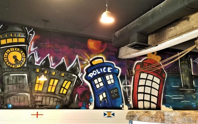 Mural in the Codfather's dining area
