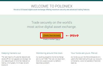 Poloniex登録スタート画面