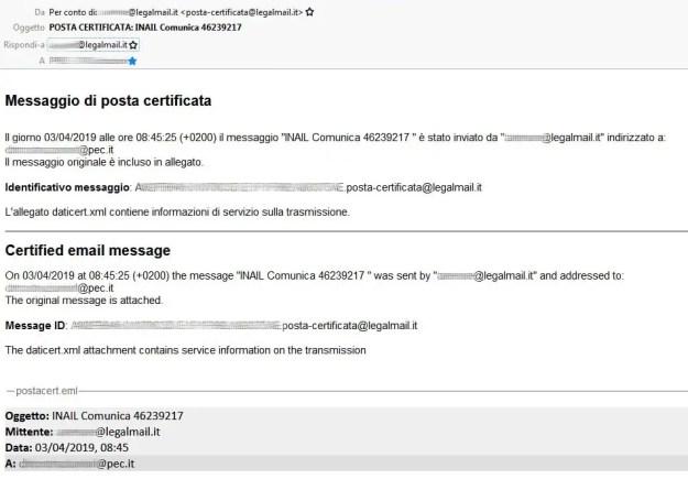 screenshot pec - False email INAIL veicolano malware via PEC
