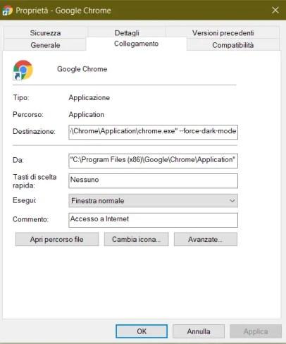 Modifica del collegamento di Chrome
