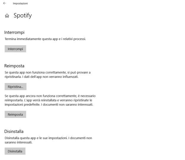 Le opzioni avanzate dell'app è simile per tutte le app (alcune non permettono il ripristino ma solo la reimpostazione)