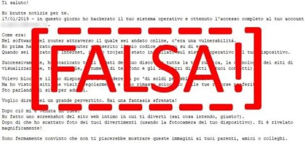 Esempio di email inviata dai criminali informatici