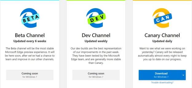 Canary Channel disponibile per Windows 7