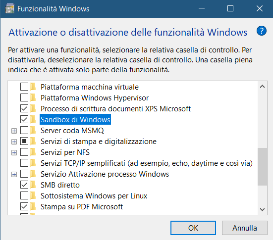 Attivazione della Sandbox di Windows