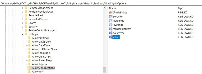 Individuare l'elemento VALUE ed assegnare il valore 0 per disabilitare Windows Hello