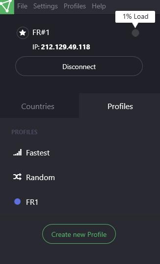 Sidebar client ProtonVPN