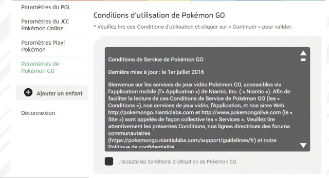 conditions d'utilisation de Pokémon GO