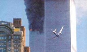 Islamic Terrorist hijacked airliner about to hit the World Trade Center, September 11, 2001
