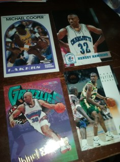Michael Cooper, The Glove, and a classic Vancouver Grizzlies card: Blue Edwards; what a name. Hersey Hawkins, now their is a name that I forgot about.