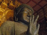 """Tōdai-ji's amazing Daibutsu, or Grand Buddha. To give an idea of the scale, I'm about 6'3"""", and I could have curled up in his hand."""