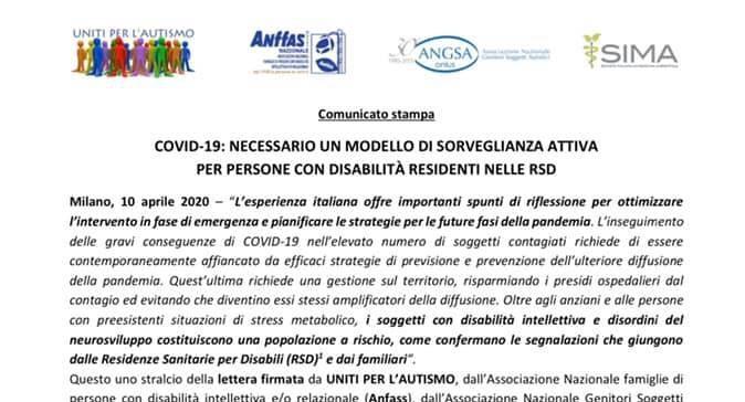 Covid-19: necessario un modello di sorveglianza attiva per persone con disabilità residenti nelle RSD