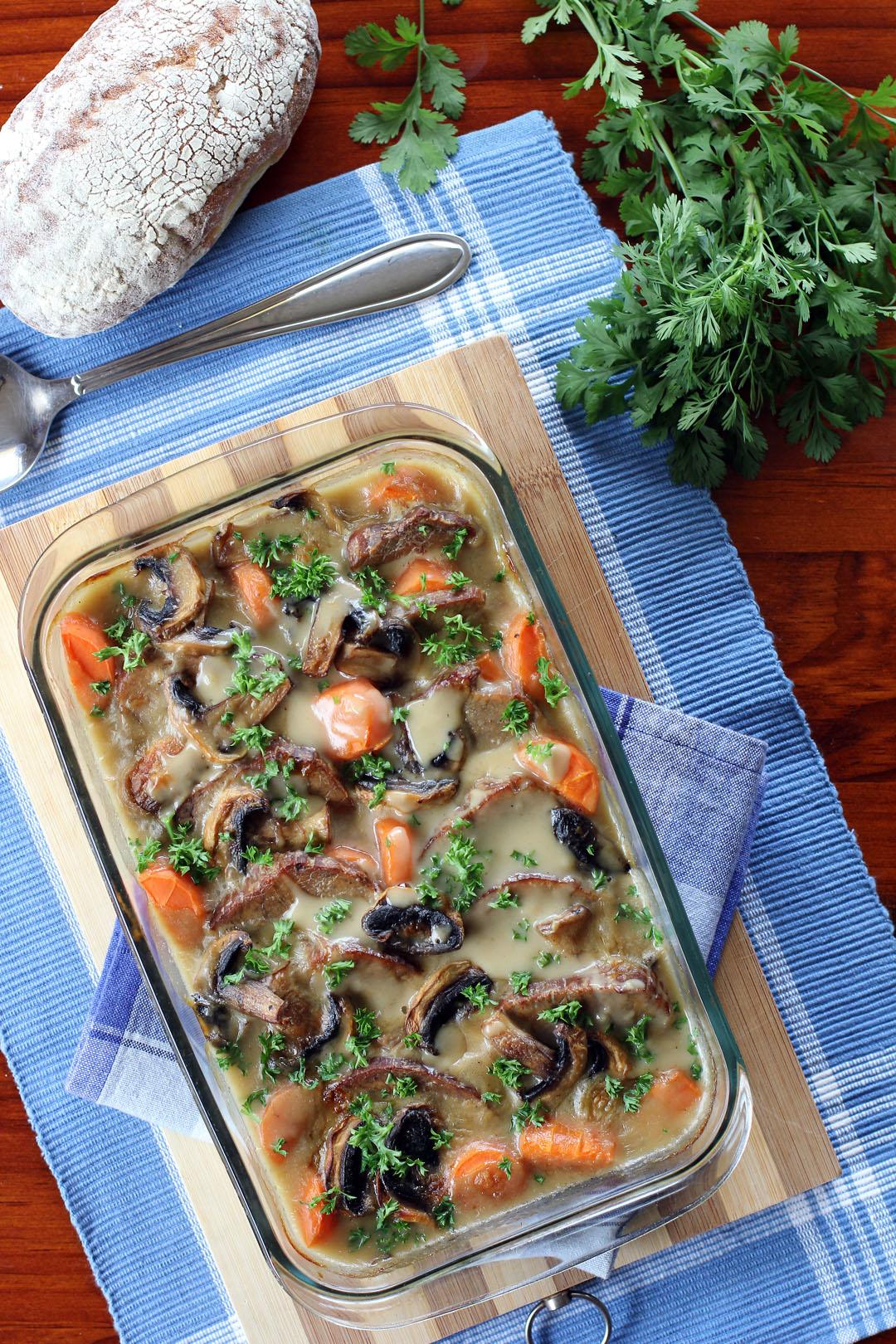 Filipino Style Pot Roast In Creamy Mushroom Gravy
