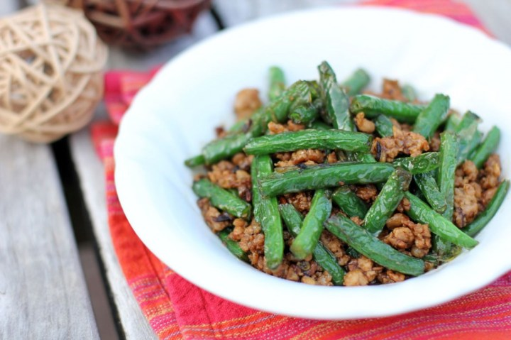 Stir-fried Green Beans with Minced Pork in XO Sauce Wide