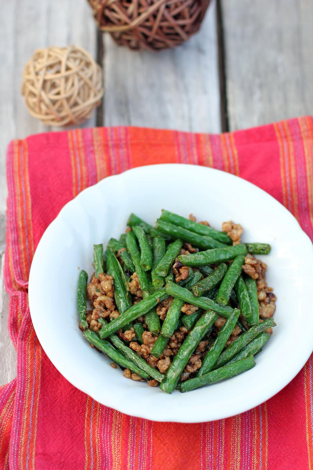 Green bean pork mince recipe