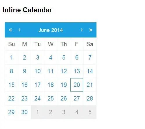 qDate Inline Calendar
