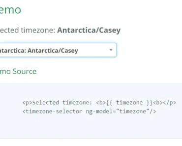 Timezone selector for Angular JS