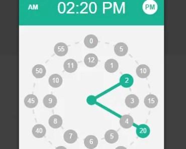 AngularJS Circular Date & Time Picker Time Picker