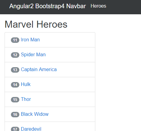 Angular2 Bootstrap4 Navbar