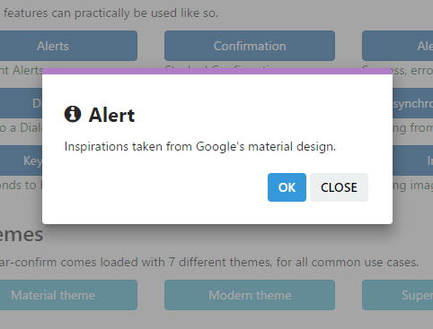 Angular-confirm Alert + Material Design