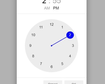Angular Material Clock Time Picker