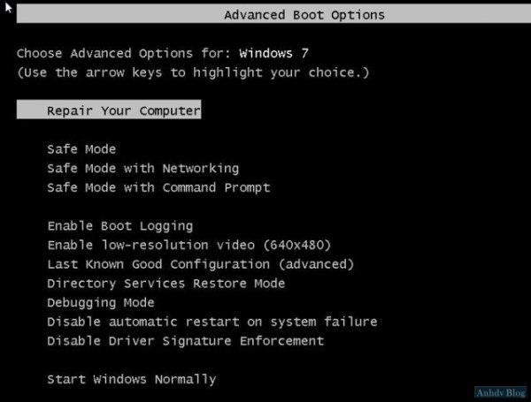 Advanced Boot Options Windows 7