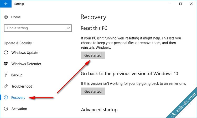 Recovery trên Windows 10