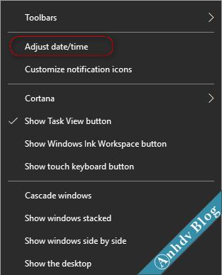 Cài đặt Tiếng Việt cho Windows 10 Creator - Adjust time