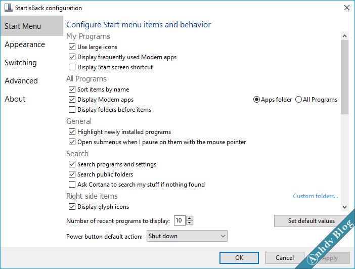 Tùy biến giao diện Windows 10 với StartIsBack 3