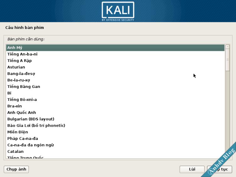 Chọn bàn phím khi cài song song Kali Linux