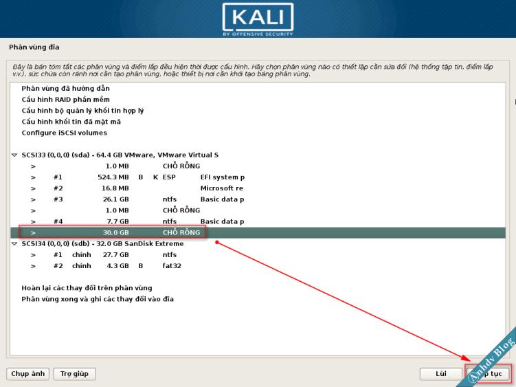 Tạo phân vùng cài Kali Linux -1