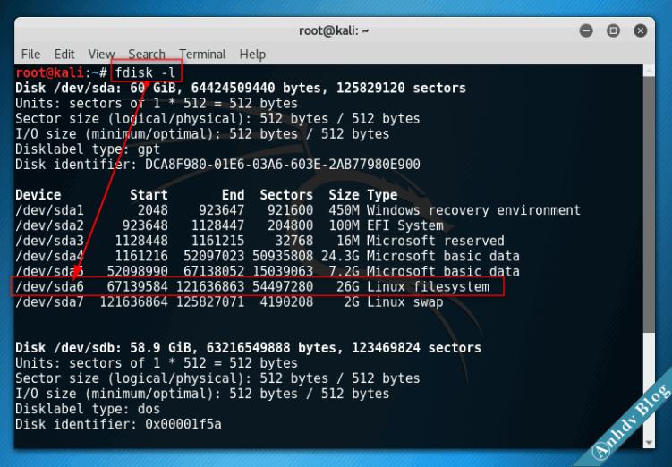 Fdisk Xác định phân vùng cài Linux