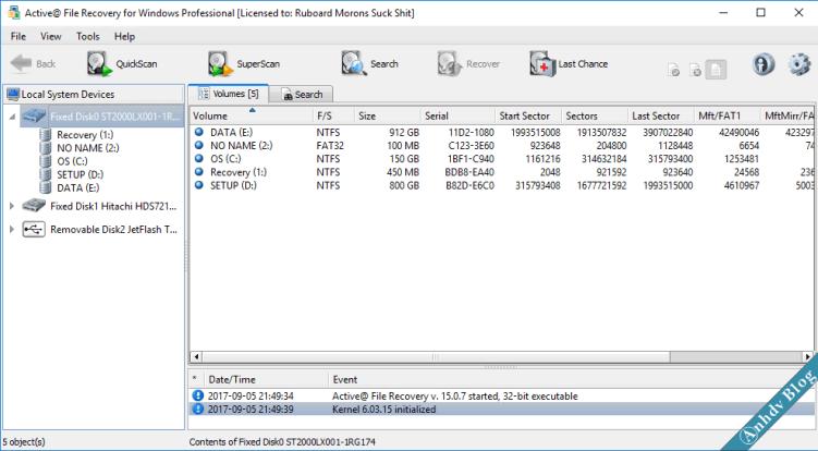 Phần mềm khôi phục dữ liệu Active File Recovery