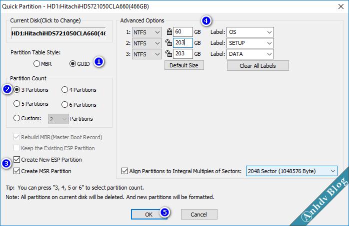 Phân chia phân vùng ổ cứng mới GPT với Partition Guru