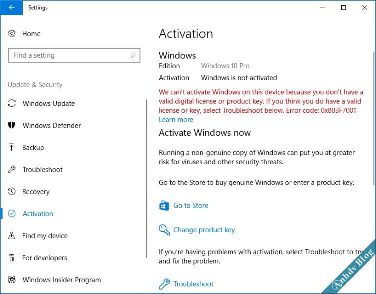 Lỗi mất bản quyền số Windows 10 1709