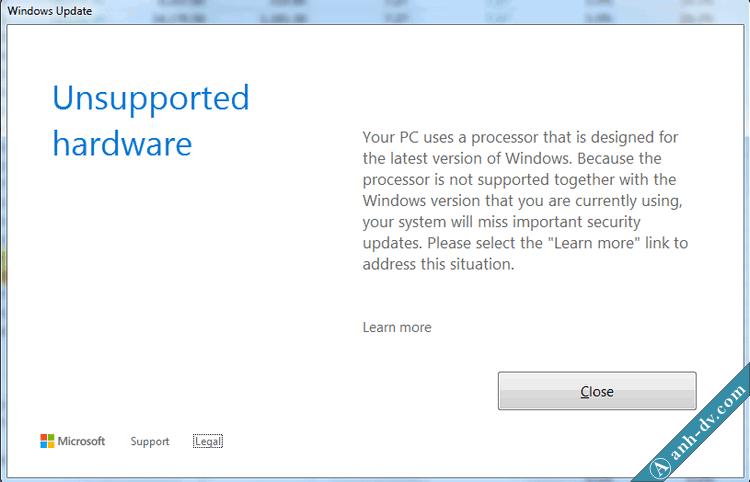 Thông báo lỗi Unsupported hardware khi check windows update trên win 7, 8.1