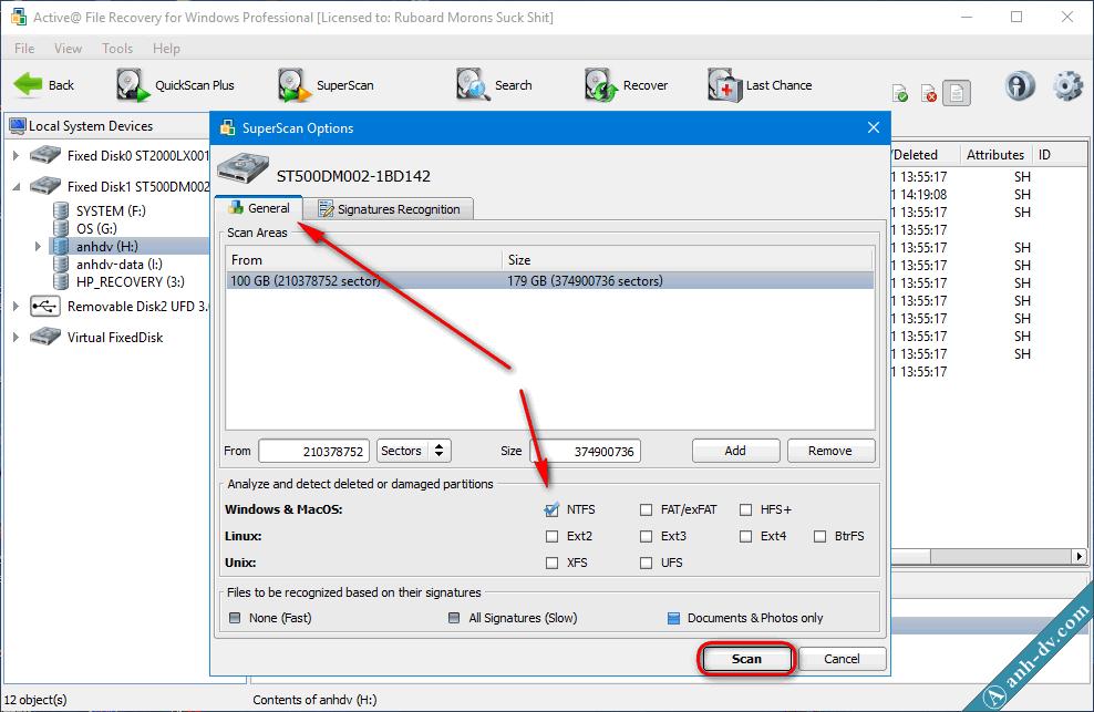 Khôi phục dữ liệu bị mất do format nhầm v2i Active File Recovery 1