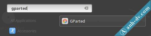 Tìm kiếm phần mềm GParted trên Linux Mint