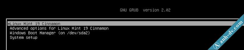 Menu lựa chọn Linux Mint hay Windows 10