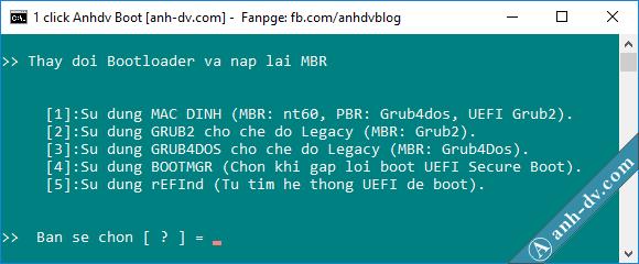 Cách thay đổi bootloader cho usb anhdv boot 1