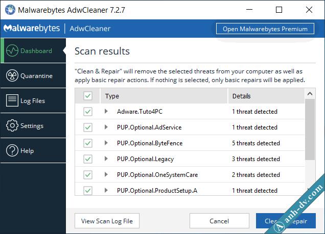 Gỡ virus quảng cáo bằng phần mềm Malwarebytes Adwcleaner 2