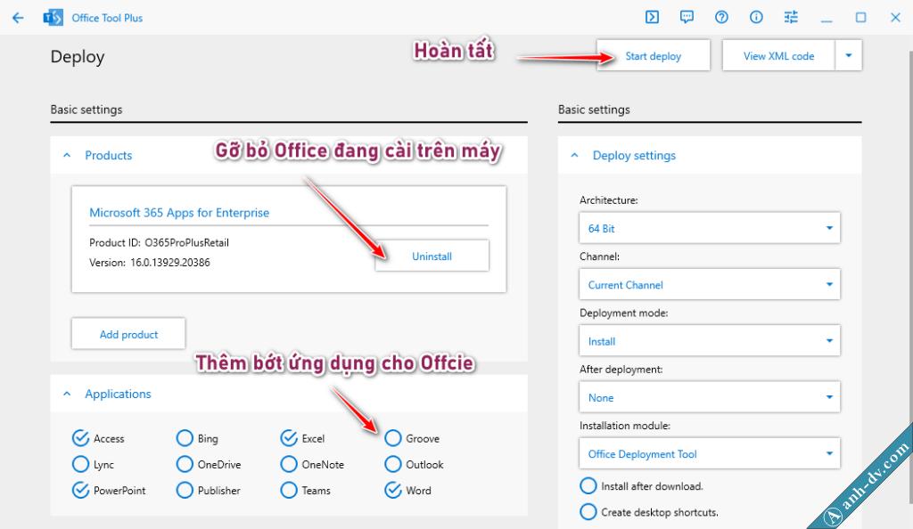 Tùy chọn cài đặt office 2021, office 365, office 2019 - Office Tool Gỡ bỏ